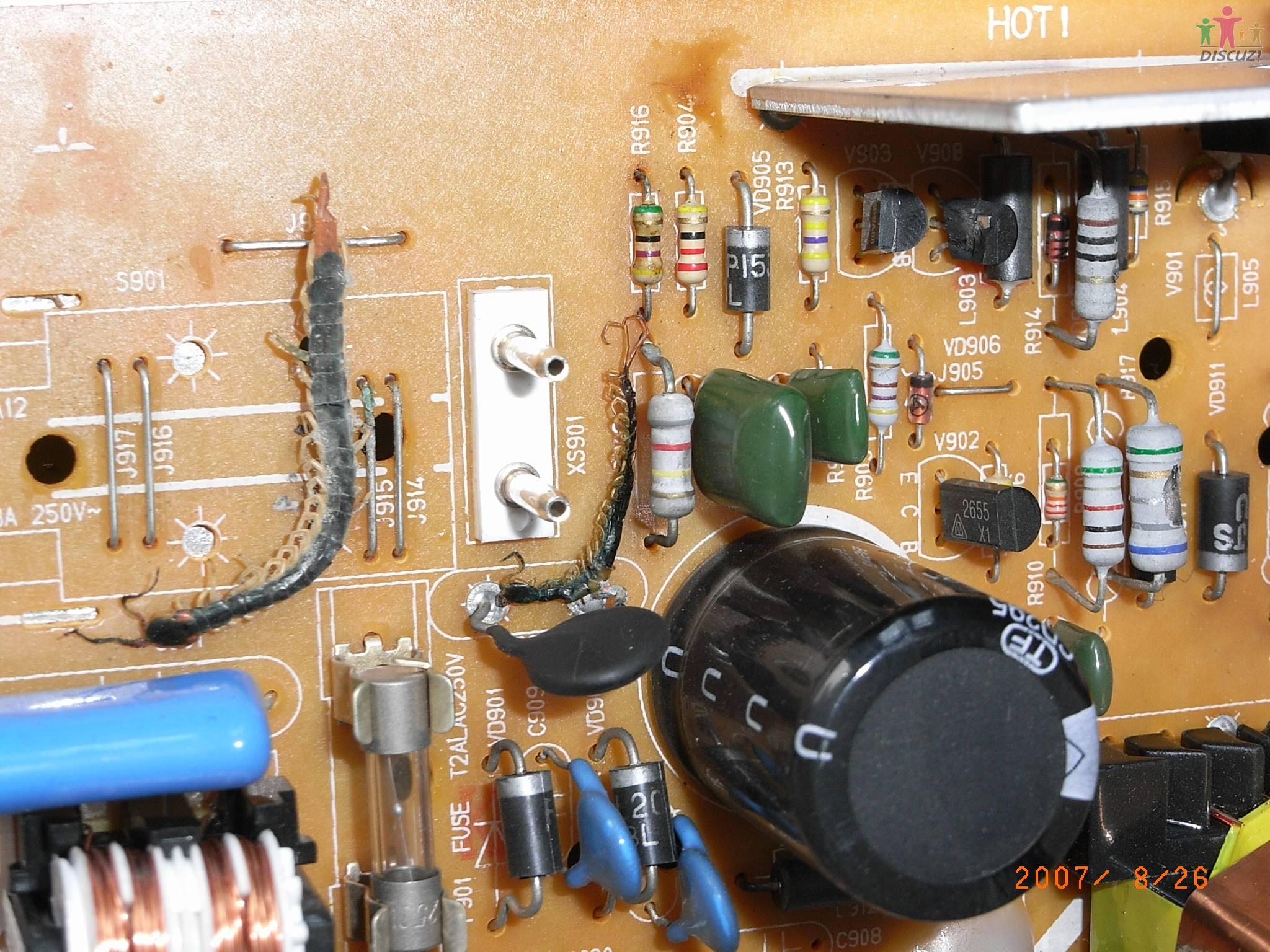 康佳t21sa073因蜈蚣引起短路烧电源