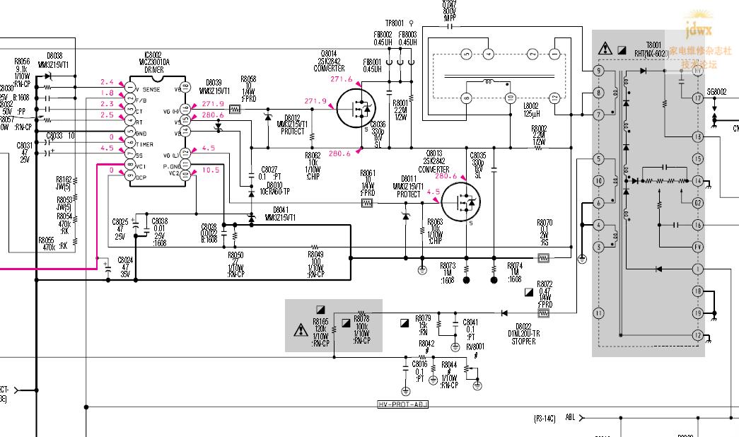 相关2片高压驱动集成电路mcz3001da, 其中一片是驱动主电源的它们内部