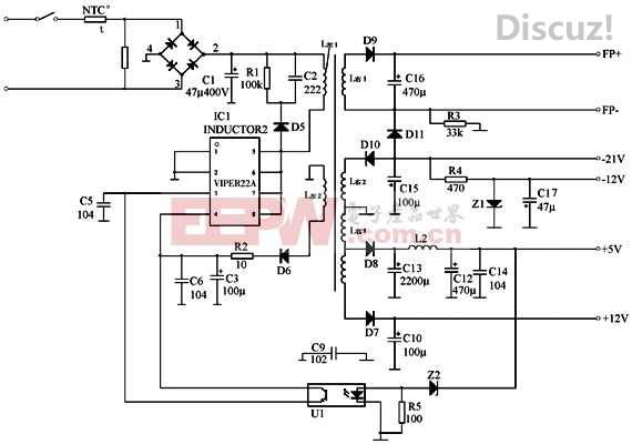 viper22a开关电源电路图