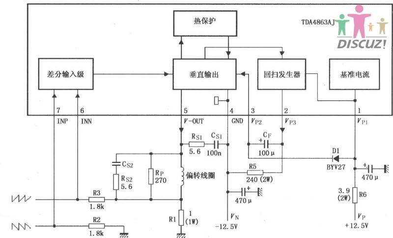 故障现象:高压线穿孔打火,造成场功放TDA4863AJ损坏,修复了高压线,换了场块后枕型失真,还有场中心下移,(请看故障照片)。进入总线调正数据,行幅及行中心可以调整,光栅上半部始终拉不满?请求支援,。 --------------------------------- 调总线数据场幅有变化,但不能调到正常?