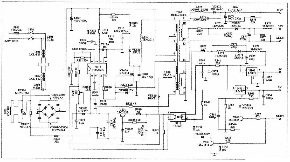 tda4605电源的原理与维修